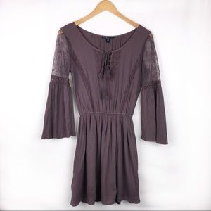 American Eagle Outfitters Lace Sleeve Tunic Dress